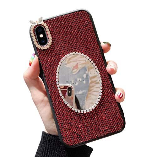 Misstars Spiegel Hülle für Galaxy S9 Plus Rot, Bling Glitzer Diamant Strass Handyhülle Weiche TPU Silikon + Hart PC Zurück Anti-Rutsch Kratzfest Schutzhülle für Samsung Galaxy S9 Plus