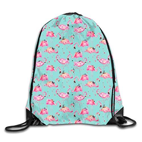 Dama Home Flamingo-Wiederholung auf Aqua Tall Drawstring-Rucksack-Rucksack-Schulter-Beutel-Sport-Sporttasche-Reise