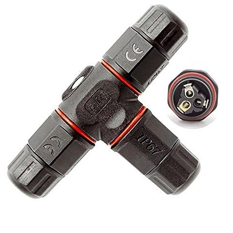 Connecteur de câble de boîte de jonction électrique imperméable à l'eau, ANSCHE T-Shaped Connecteur de câble souterrain extérieur Manche Ø5mm-10mm (Noir, 3 pôles, IP67,