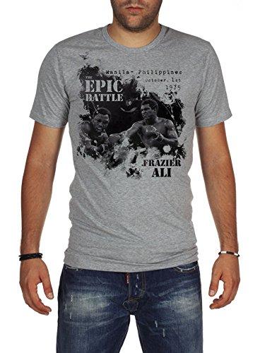 Palalula Uomo Boxe Muhammad Ali vs Joe Frazier T-Shirt XS Grigio