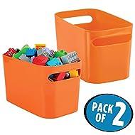 mDesign organizador de maquillaje color naranja - Cesta plastico ideal para sus productos de baño - Organizador de baño resistente con asas - Pack de 2 unidades