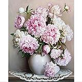 Ölgemälde durch Zahlen, Diy handgemalte Blumen Bilder Leinwand Malerei Wohnzimmer Wand Kunst Home Decor Geschenk - 16 * 20 Zoll ohne Rahmen
