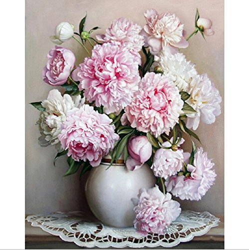Dreamsy Ölgemälde durch Zahlen, DIY handgemalte Blumen Bilder Leinwand Malerei Wohnzimmer Wand Kunst Home Decor Geschenk - 16 * 20 Zoll mit Rahmen -