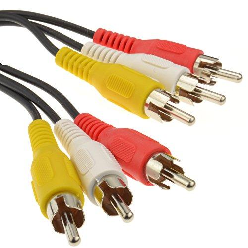 3x Chinch Cinch Stecker Zum Stecker Composite & Audio Kabel Anschlusskabel 7 m - Composite Audio