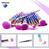 Imurz 12stück Pro Bunt Regenbogen Einhorn Unicorn Make Up Brush Set Diamant Makeup Pinsel Set Highlighter Kosmetik Pinselset Foundation Rouge Lidschatten Blending Kontour Pinselset Dermacol MakeUp