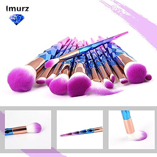 Imurz 12stück Pro Bunt Regenbogen Einhorn Unicorn Make Up Brush Set Diamant Makeup Pinsel Set Highlighter Kosmetik Pinselset Foundation Rouge Lidschatten Blending Kontour Pinselset Dermacol MakeUp (Bb Diamond Cream)