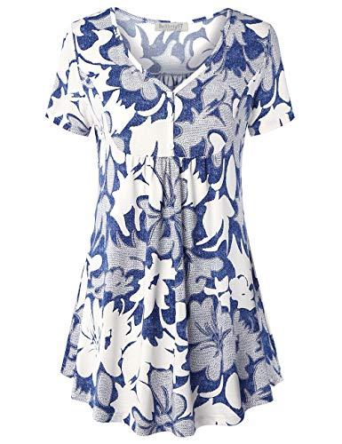 BAISHENGGT Damen T Shirt Kurzarm Oberteile Bluse Hemd Lose Sommer Tunika Top Blau Blumen #3 2XL