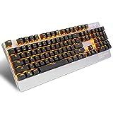 EMISH K8 Mechanische Spieltastatur, 104 Blauer Schalter Anti-Ghosting Keys und Einstellbare 9 Hintergrundbeleuchtung Modi, USB verdrahtet Wasserdicht Metall Computer Tastatur zum Gamer und Schreibkraft, Orange LED Hintergrundbeleuchtung