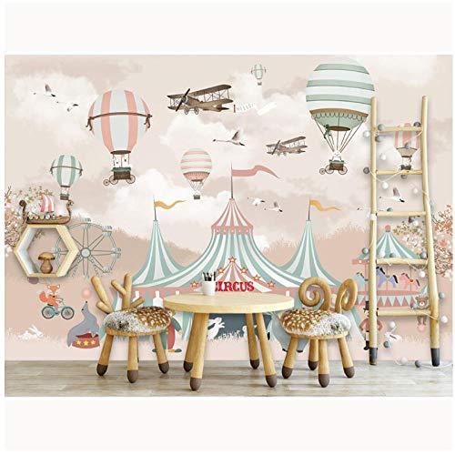Circus Leinwand (Kids Wall Paper-Cartoon Balloon Circus-Wallpaper Wandtattoo-Kinderzimmer Selbstklebende Tapeten Vlies 400 (B) x250 (H) (13'1