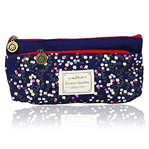 Federmäppchen Stationery Supplies Pastoral Fresh Casual Chic Klein Floral Besitz Blau Nektar Pencil Bag Student Stationery Tasche (Color : Color, Size : One Size)