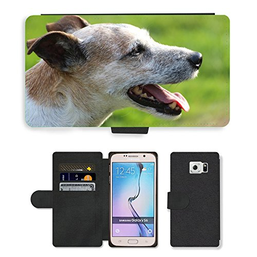 PU Flip Carcasa Funda de Cuero Piel Cubre Case // M00133651 Cane Capo Close Parson Russell Terrier // Samsung Galaxy S6 (Not Fits S6 EDGE)