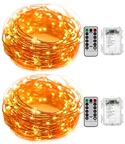 Led Fairy String Lights 2 Pack KingTop 5M 50 LEDs Copper Wire Battery Powered Waterproof Led String Lights with 8 Modes Remote Control for Holiday Party Wedding Centerpiece Bottle Decoration [Energy Class A+]
