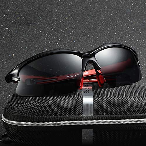 Yiph-Sunglass Sonnenbrillen Mode Strapazierfähige, semi-randlose Herren-Sport-Sonnenbrille mit polarisiertem UV400-Schutz. Fahren Radfahren Laufen Angeln Golf-Sonnenbrille (Farbe : Red)