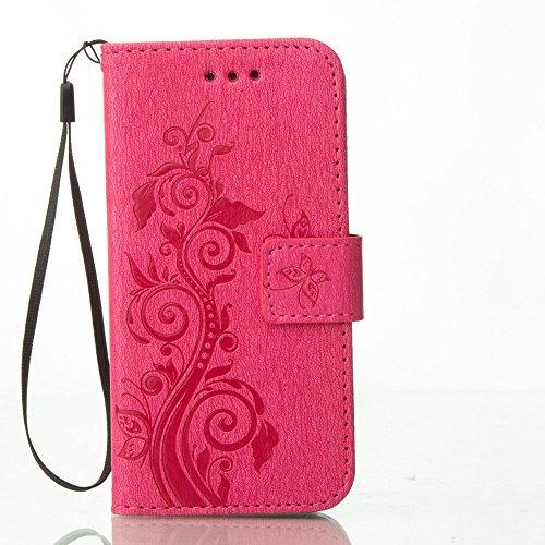 Flip Folie Stil Brieftasche Geldbörse iPhone 7 Hülle Cover ( Rot ) Anti Shock, Apple iPhone 7 4.7 zoll Case, Karte Halter PU Leder Hülle, Elegant Blumen Blume Prägung Muster Rot