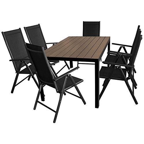 Multistore 2002 7tlg. Gartengarnitur Aluminium Gartentisch 150x90cm mit Polywood Tischplatte Hochlehner mit 2x2 Textilenbespannung 7-POS. Verstellbar