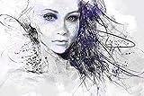 PICMA Frau Leinwandbild leuchtend im Dunkeln modernes abstraktes Bild Portrait Mädchen Gesicht I Wohnzimmerbild Wohnzimmerdeko Wandbild XXL Wohnzimmer I 1 Bild Leinwand Frau fluoreszierend 80x120cm