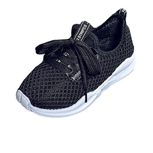 (URSING Kleinkind Kinder Schuhe Sportschuhe Laufschuhe Babyschuhe Jungen Mädchen Brief Drucken Mesh Schuhe Atmungsaktiv Mesh Leichte Athletische Turnschuhe Freizeitschuhe (Schwarz,28))