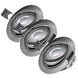 LED Einbaustrahler flach Set 230V Schwenkbar 3 x 5W IP20 | Deckenstrahler RA > 90 Einbau-Spot 3000K Warmweiß | Silber Nickel Gebürstet | Oktaplex Lighting PARIS 5