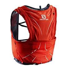 SALOMON Small Running/Trail Back Pack, Practical and Light, 12 Litre Capacity, Softflask Included, Adv Skin 12 Set, Red (Fiery Red)/Grey(Graphite), M/L L40138300