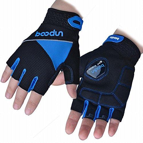 Jiaa Handschuhe halb Finger Handschuhe Silikon Schock Absorption Skid Männer und Frauen Fahrrad Ausrüstung,Blau,M -
