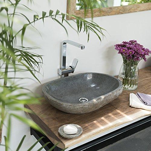 Wohnfreuden Naturstein Waschbecken Stein Waschbecken oval 60 cm für Waschtisch Unterschrank im Gäste WC Bad