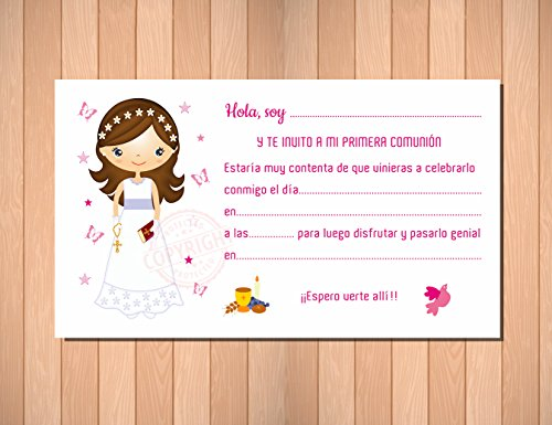 Recordatorios de Comunión. Invitaciones para Primera Comunión niña. Elegantes, Límpias ...