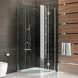 Viertelkreis Duschkabine 90 x 90 mit Nanobeschichtung Echtglas Rund Design Duschabtrennung Glas-Dusche für Badezimmer Alpenberger
