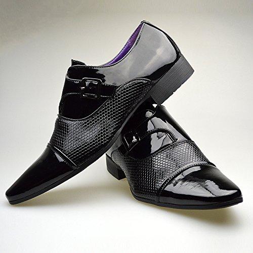Hommes Neuve Décontracté Cuir Brun élégant formel Chaussures Boucle TAILLE UK 6 7 8 9 10 11 Noir - noir