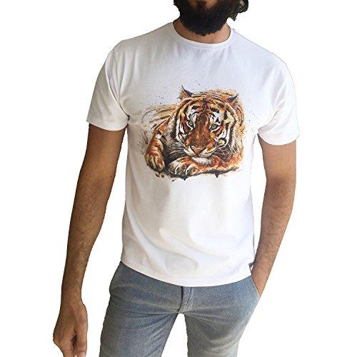 JustCool Herren T-Shirt Weiß & Schwarz Rundhals | Kurzarm | Motiv Tiger