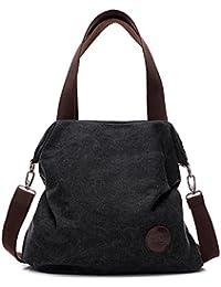 Bolso de mano/bandolera fabricado en lona, para mujeres, estudiantes, de estilo hobo, sencillo, vintage, para compras, de la marca ParaCity, negro