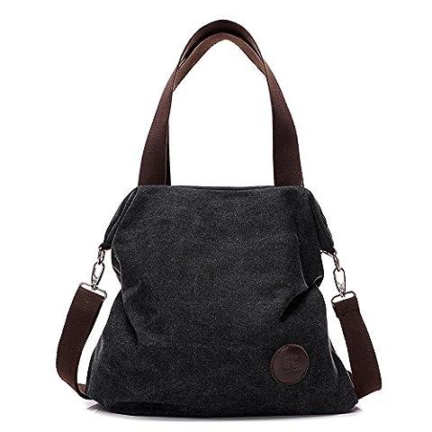 Paracity Femme simple Style vintage en toile Sac à main Sac à bandoulière Shopper Hobo Sac fourre-tout pour femme Filles étudiants noir