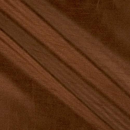 KasLen Textiles 58'' Faux Dupioni Silk Brown Fabric Stoff, Textil, braun, by The Yard -