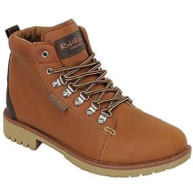 Mens Boots Rock & Religion Baskets Montantes Chaussures Chaussure Cuir Lacet Look Designer - Café - OUTLAND, 43