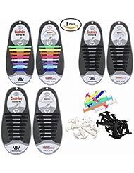 3 pares de lazy sin cordón de silicona para los adultos, WOODHEART caucho Tieless elástico deslizamiento zapato de zapato Running cordones atletismo cordón (1 par negro + 1 par blanco + 1 par colorido)