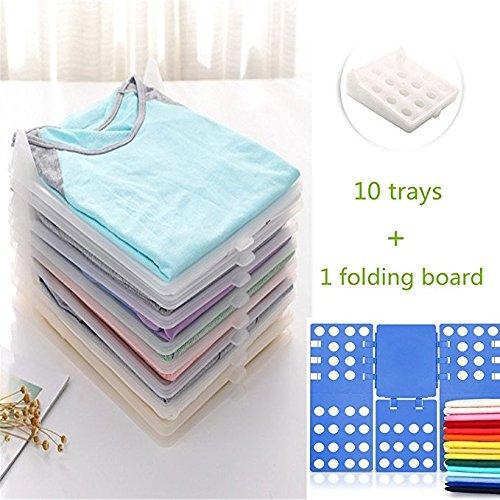 Gentoo Kleidung Organizer, T-Mix Closet Organizer/T-Shirt Underwear Folder with 10-Piece Separate Board (Transparent White+Folding Board)