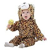 MICHLEY Baby mädchen und Junge Flanell Frühling Strampler Pyjama kostüm Bekleidung Karikatur Tier Jumpsuit Spielanzug Schlafanzug(Leopard 100)