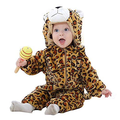 MICHLEY Baby mädchen und Junge Flanell Frühling Strampler Pyjama kostüm Bekleidung Karikatur Tier Jumpsuit Spielanzug Schlafanzug(Leopard 80) -