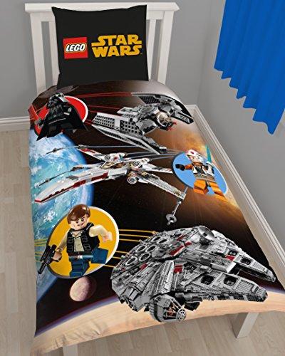 Lego Star Wars Kinder FLANELL / BIBER Bettwäsche Wende Motiv warm & kuschelig 2 tlg. Kissenbezug 80x80 + Bettbezug 135x200 cm 100 % Baumwolle (Raumschiff Von Lego Movie)