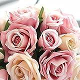 Unechte Blumen,Künstliche Deko Blumen Gefälschte Blumen Seidenrosen Plastik 9 Köpfe Braut Hochzeitsblumenstrauß für Haus Garten Party Blumenschmuck (Rosa Champagner) - 4