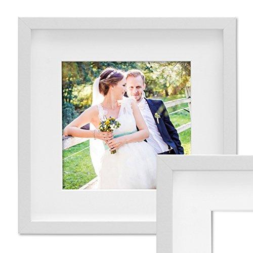 PHOTOLINI 3D Bilderrahmen Objektrahmen 30x30 cm 3D-Rahmen Weiss Modern Tief MDF-Rahmen mit Passepartout u. Glasscheibe/Fotorahmen