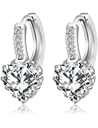 Zorah Silver Plated Heart Shaped Stud Earrings For Women Embellished With AAA Cubic Zirconia Diamonds - Silver
