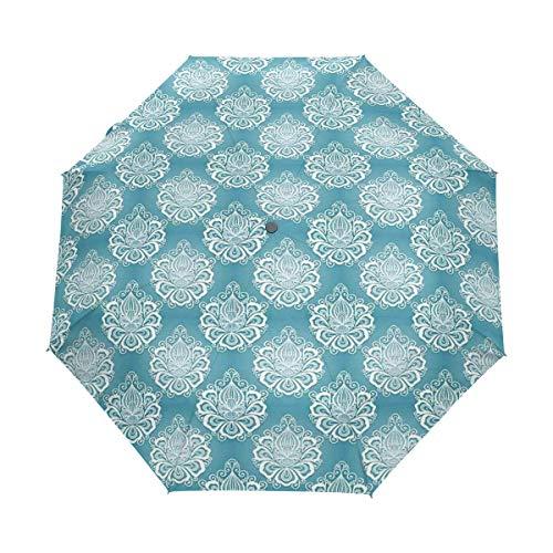 DUILLY Automatischer Regenschirm zum Öffnen/Schließen,Damast-Kunst-Blumen mit Barock Curlicues-viktorianischer Garten-Inspiration,Winddichter, Wasserdichter, Leichter Reise-Taschenschirm