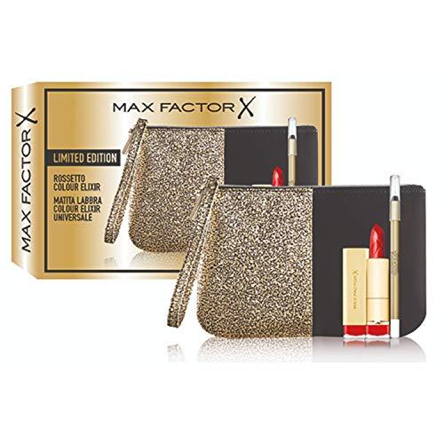 Max factor - confezione regalo - pochette con rossetto stick e matita labbra universale colour elixir