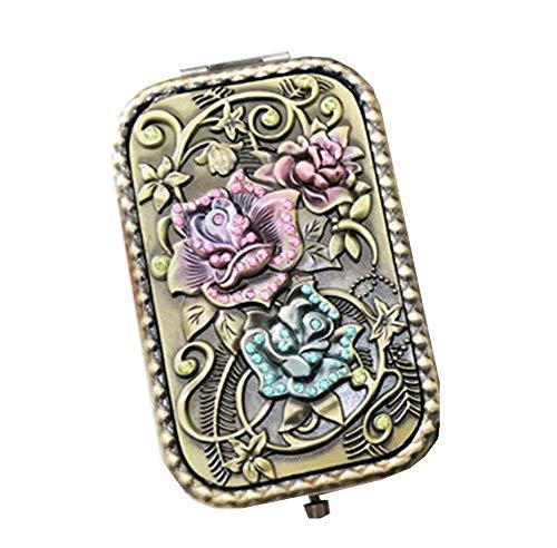 Espejo de bolsillo de viaje vintage Bolso compacto Espejo Mini monedero Espejo de maquillaje #2