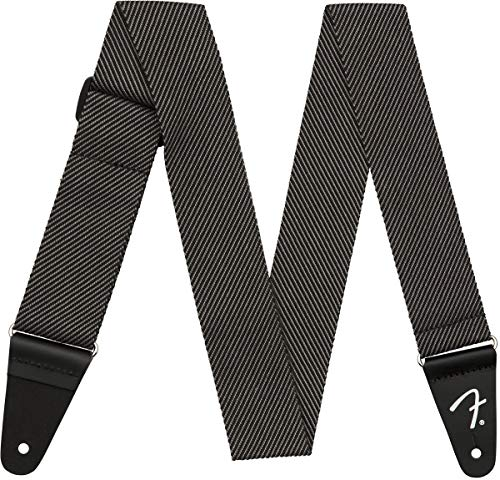 Fender, tracolla moderna in tweed, 5,1 cm, grigio/nero