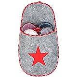 Levivo Set di 10 Pantofole in Feltro per gli Ospiti, 1 Tasca-Pantofola Grande con Motivo a Stella, per Uomo e Donna, 5 Diverse Taglie e Colori, Tasca Rossa