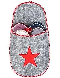Levivo Ensemble de chaussons pour invités, lot de 11: 10 chaussons pour invités en feutre, 1 chausson de rangement orné d'un motif en forme d'étoile, Pantoufles pour invités pour femme et pour homme, 5 tailles et couleurs différentes, rangement gris