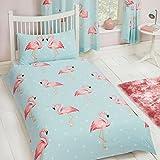 Fifi Flamingo Housse de couette pour lit simple et taie d'oreiller - Polycoton - Parure de lit pour enfant