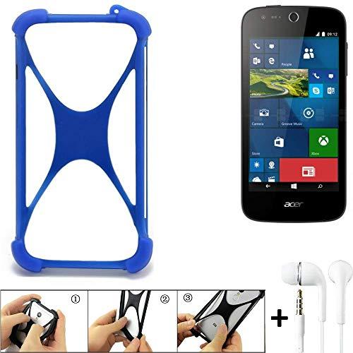 K-S-Trade Bumper für ACER Liquid M330 Schutzhülle Handyhülle Silikon Schutz Hülle Cover Case Silikoncase Silikonbumper TPU Softcase Smartphone, Blau (1x), Headphones