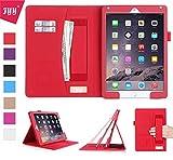 FYY Coque iPad Air 2, Étui en Cuir PU avec Support Pied Card Slots, Portefeuille, Sangle Élastique Support de Stylet pour iPad Air 2 Rouge (avec Fonction Veille/Réveil Automatique)